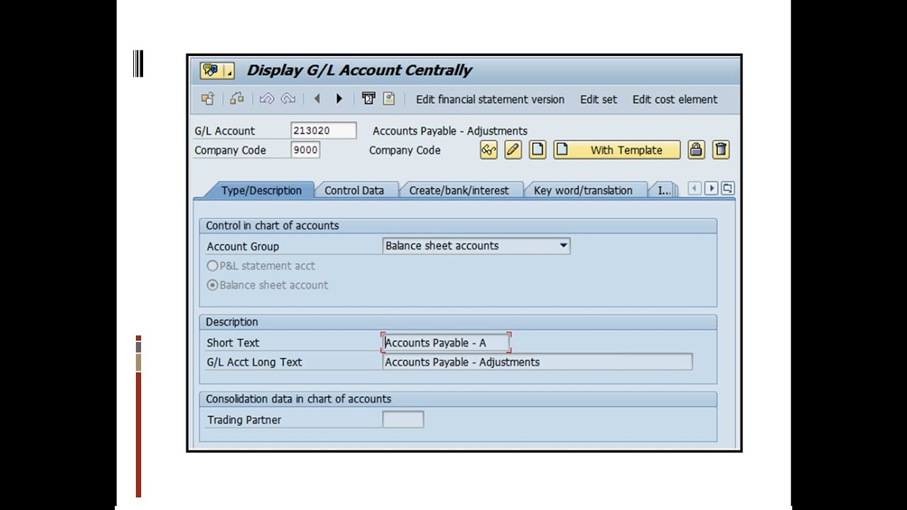 General Ledger Master Data In Sap Finance