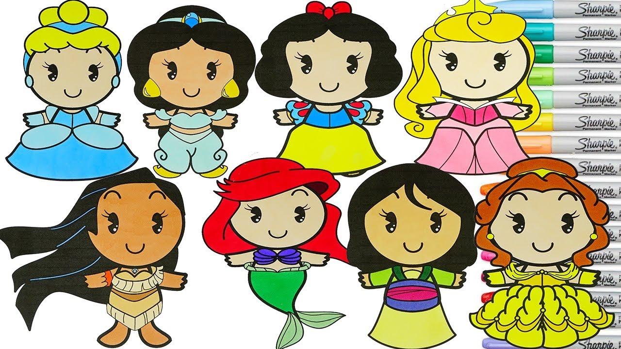 Disney Princess Coloring Book Compilation Cinderella Belle Ariel ...