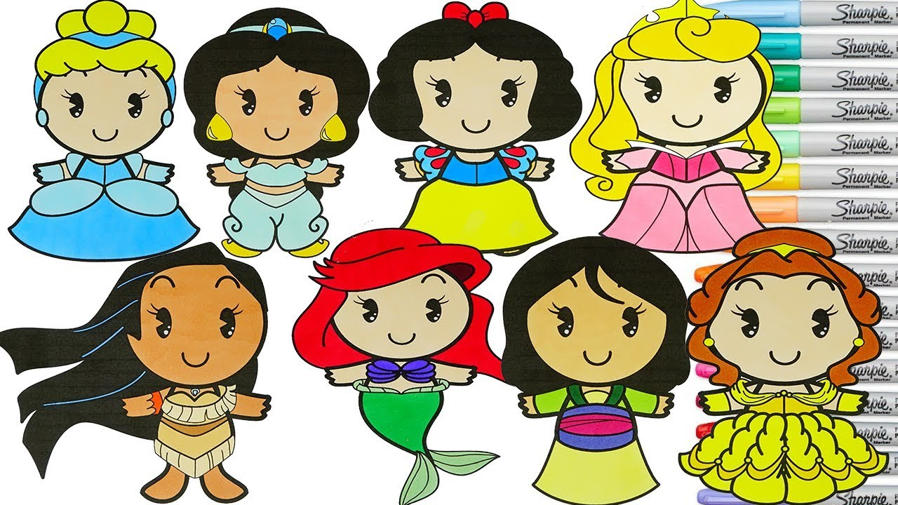 Disney Princess Coloring Book Compilation Cinderella Belle Ariel Jasmine Mulan Cuties