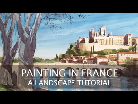 How to paint a Watercolour Landscape #1. A watercolour painting tutorial of Beziers Cathedral.