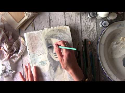 Plastered Art Journal Cover and Mixed Media painting Tutorial