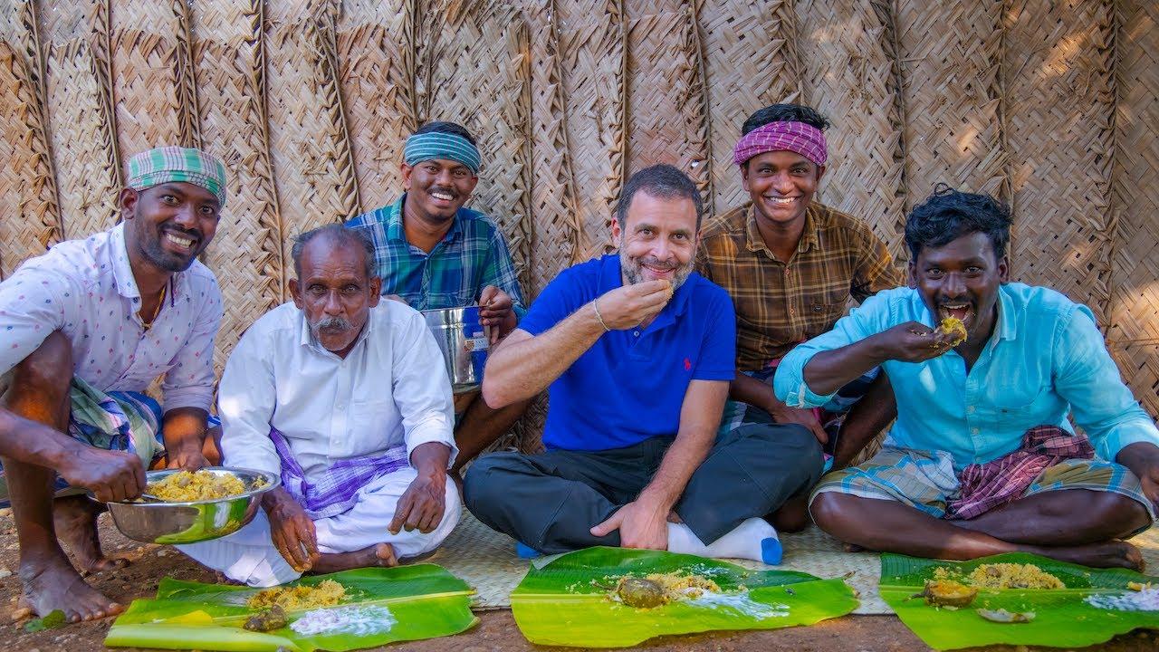 Download BIG MOMENT   RAHUL GANDHI Join In Village Cooking   Mushroom Biryani   Village Cooking Channel