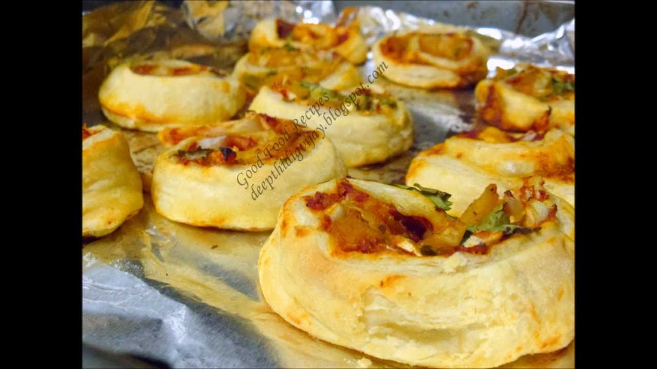 Puff Pastry Pin Wheels Indian Style Youtube