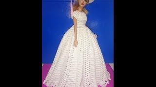 Одежда для куклы крючком.  Платье свадебное- бальное 2 часть