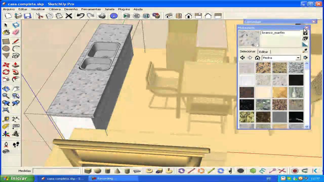 Decora o de uma casa sketchup b sico 3de 4 - Programas para decorar casas ...