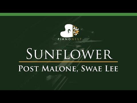 Post Malone, Swae Lee - Sunflower - LOWER Key (Piano Karaoke / Sing Along)