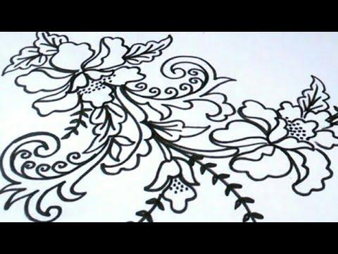 Menggambar Bunga Batik Paling Mudah Youtube