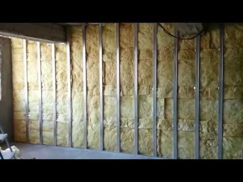гипсокартон, обшивка стен (2 слоя), монтаж + каменная вата.  Plasterboard Wall and mineral wool.