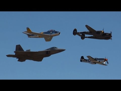 Planes of Fame Air Show 2015  Heritage Flight F-22 F-86 P-38 P-51