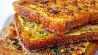 Spicy Bread Omelette Recipe | Bread Omelette Street Food