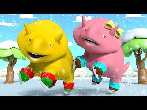 Ucz się kształtów Dino i Dina jeżdżą na Łyżwach Bajki Edukacyjne dla Dzieci