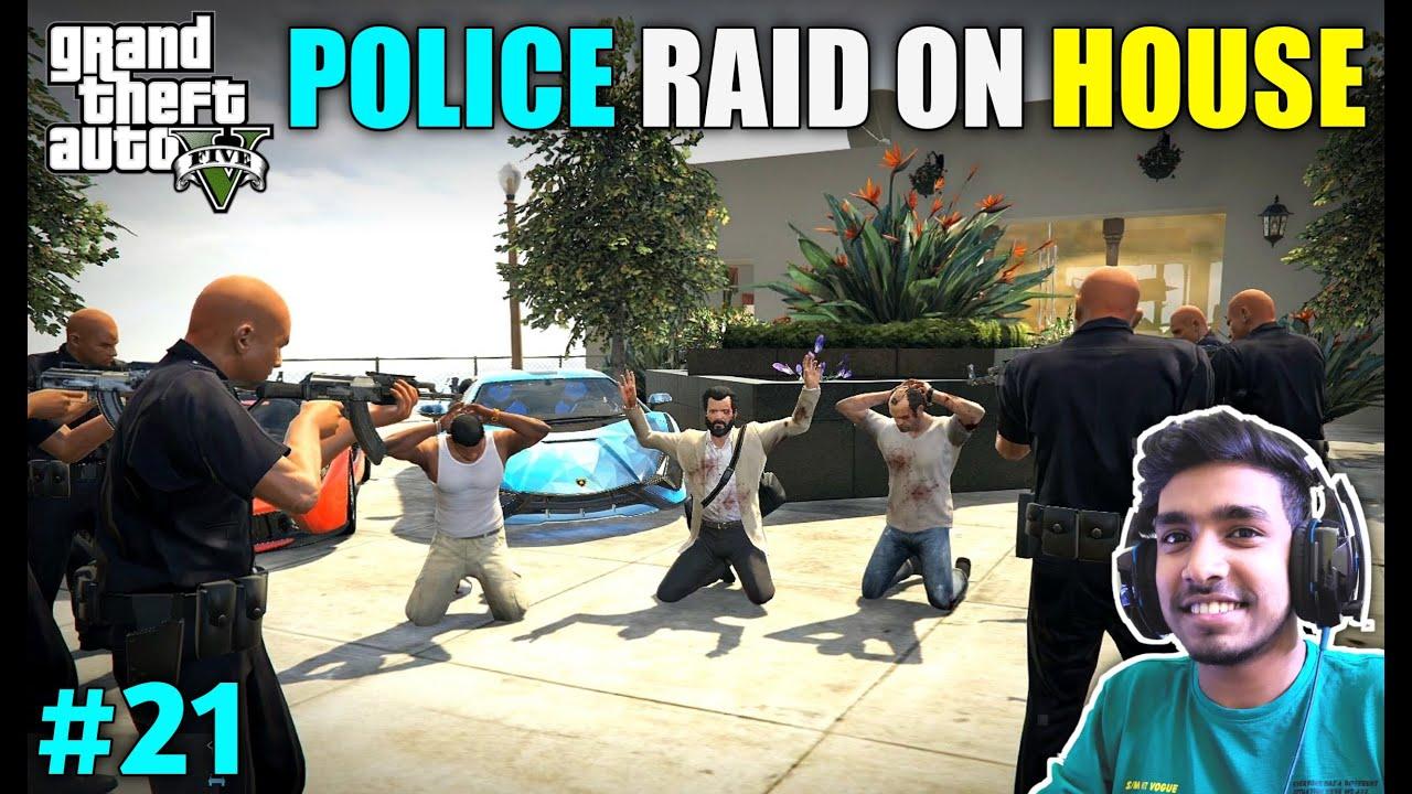 POLICE RAID ON MICHAEL'S NEW HOUSE   GTA V GAMEPLAY #21 thumbnail