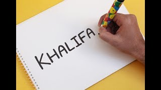 How to turn word KHALIFA into a Cartoon DUBAI BURJ KHALIFA ! Text To Picture Art For Kids