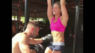 Woman getting punched in the stomach! Like a champ