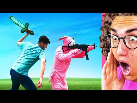 Minecraft vs Fortnite In REAL LIFE Video Game!