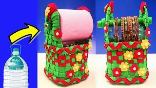 Plastic Bottle Craft Latest Idea 2018 - Making a Tissue Holder & Bangles Stand with Plastic Bottle