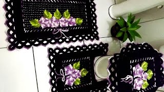 Tapete do Vaso – Jogo de Banheiro Preto e Lilás
