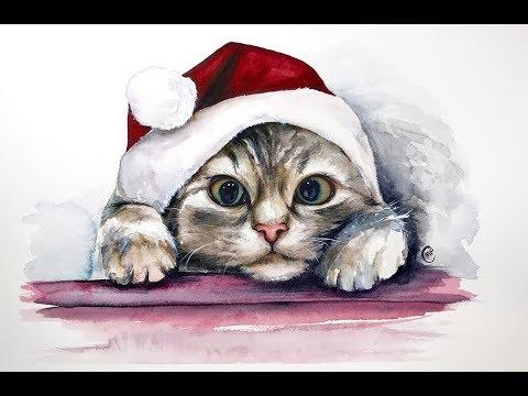 Watercolor Christmas Kitten Painting Tutorial