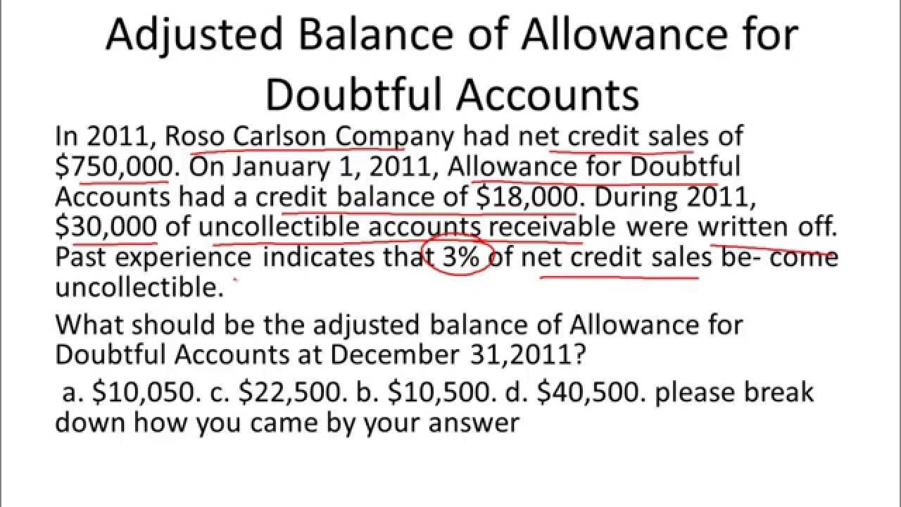 allowance for doubtful accounts balance sheet example youtube