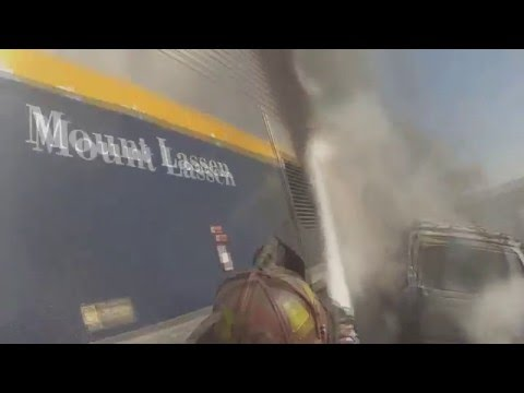 Helmet-cam: Amtrak train crash vs. car fire
