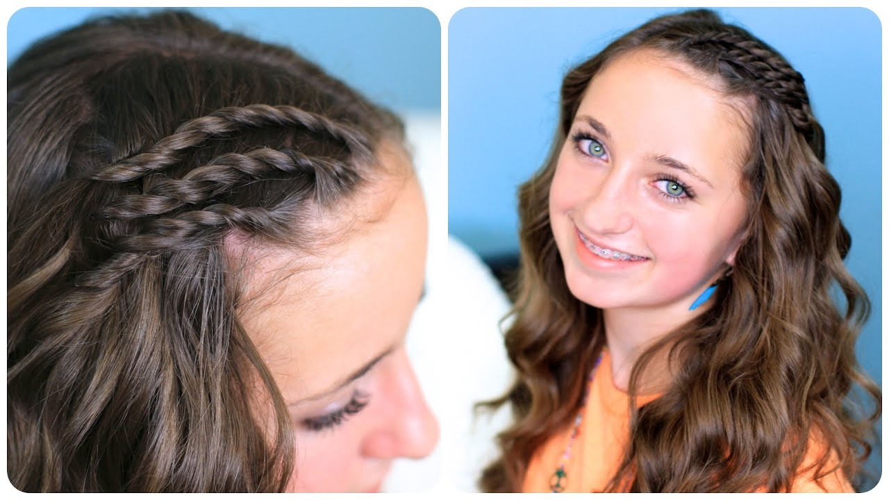 Triple Lace Side Twists | Cute Girls Hairstyles - YouTube