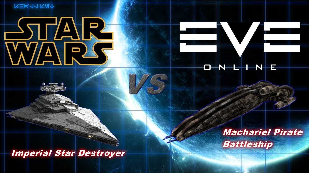 Star Wars vs Eve Online - Star Destroyer Attacked by Machariel Battleship!