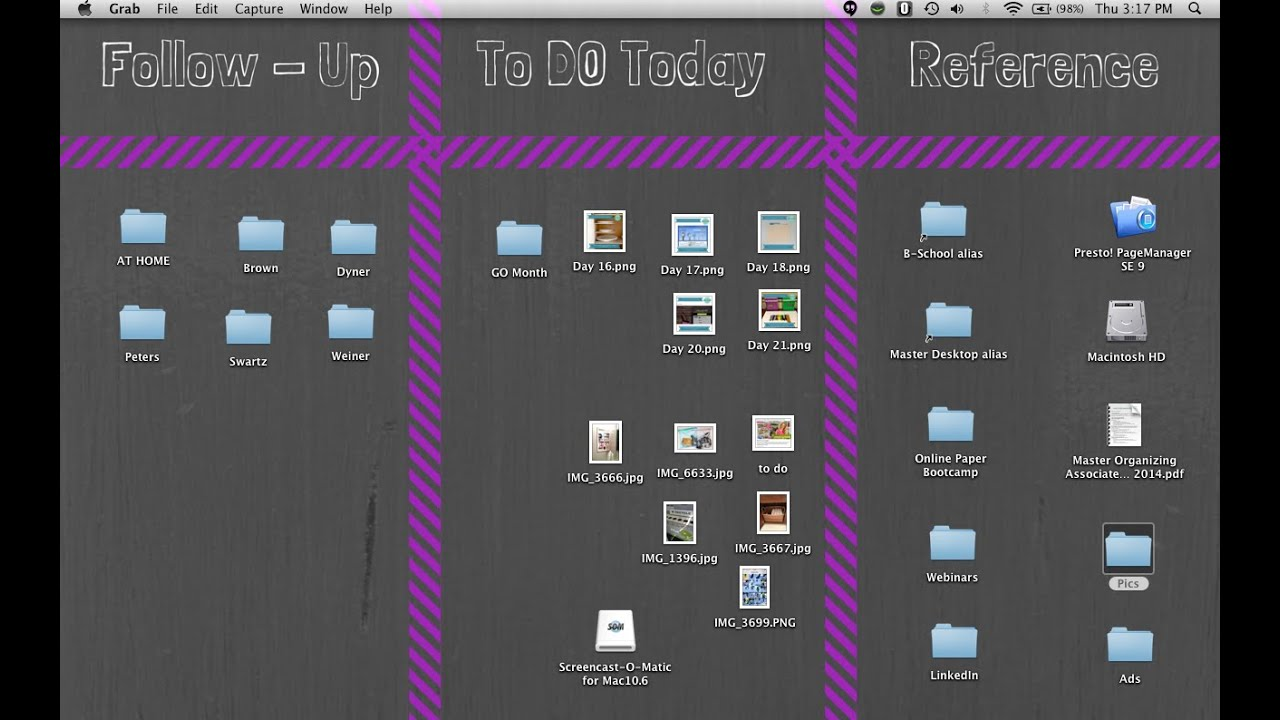 Computer Screen Desktop Organizing