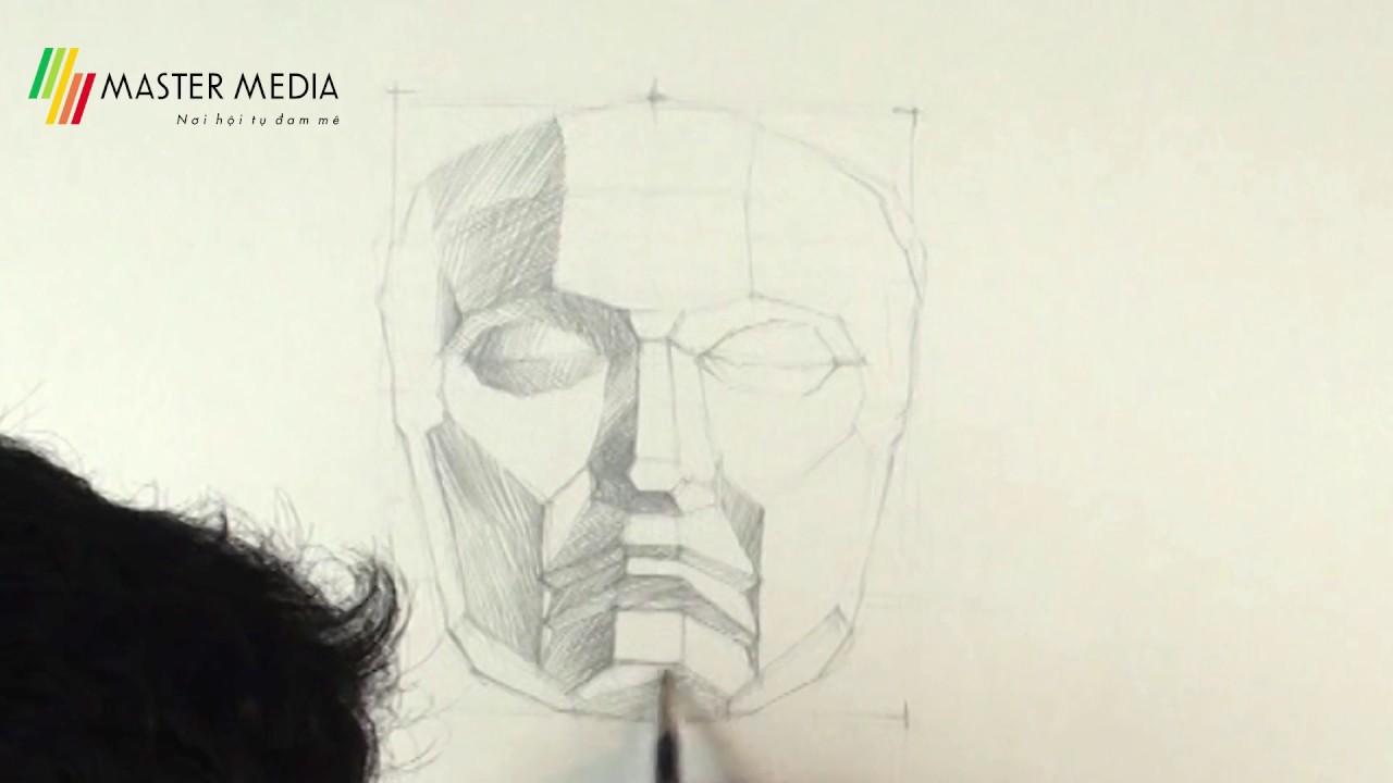 Vẽ bút chì tượng mặt nạ thạch cao
