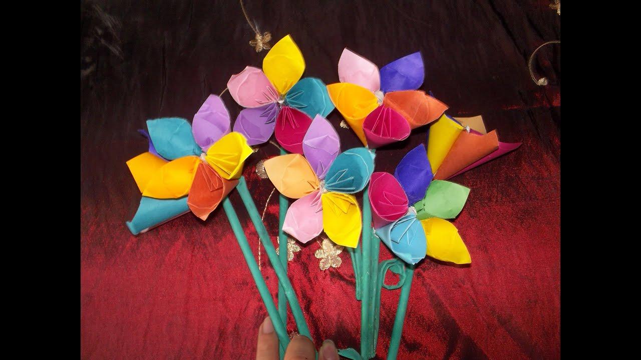 Flores de papel sencillas flores de papel facil youtube - Youtube manualidades de papel ...