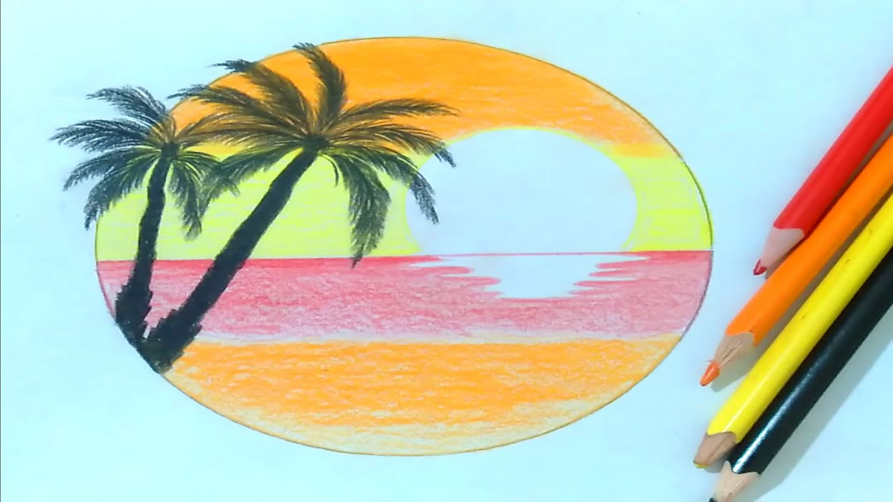 رسم منظر طبيعي طريقة رسم منظر الغروب سهل بالالوان الخشبية