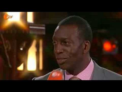 Michael Johnson being interviewed in beijing about doping on ZDF Television part2