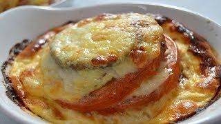 Milhojas de Berenjena, Tomate y Mozzarella