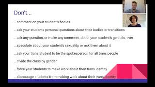 Supporting Trans Students Workshop: Don'ts