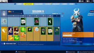 FORTNITE SEASON 5 BATTLE PASS!!! ALL 100 TIERS!!! LEGENDARY RAGNAROK SKIN!!!