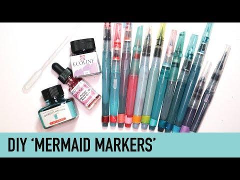 MAKE YOUR OWN Mermaid Markers   DIY Colored Brush Pens