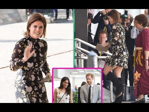 Princess Eugenie competitive legs with Meghan Markle at the Commonwealth Youth Forum in London