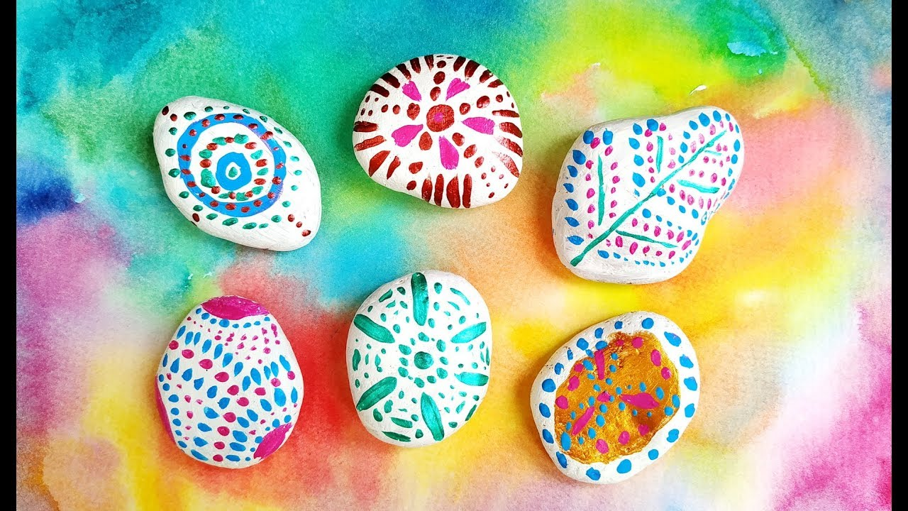 10 Easy Painted Rocks Ideas For Flower Pots Decor Diy Dot Art Stone Painting Crafts Youtube