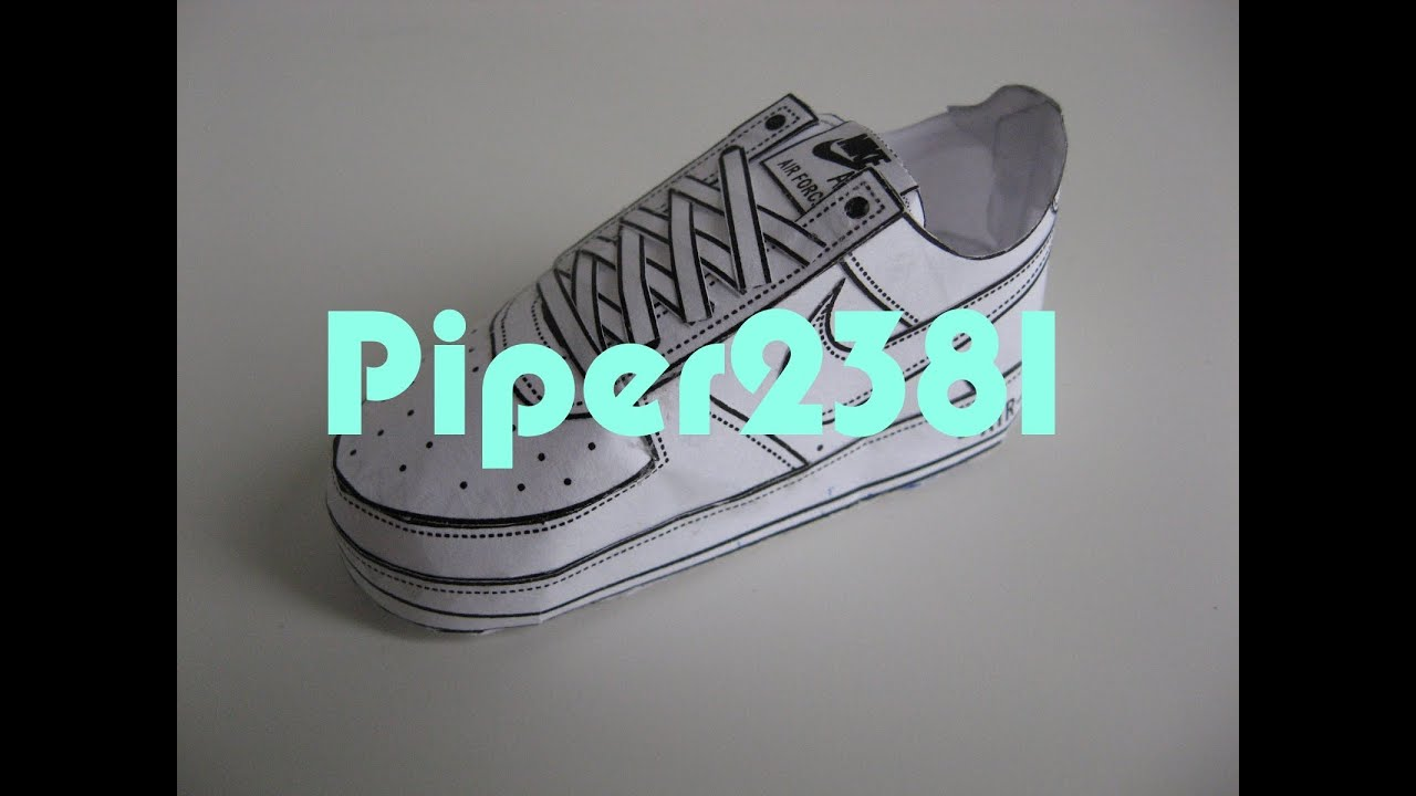 youtube papercraft paper shoes | Nike Air Force 1 template