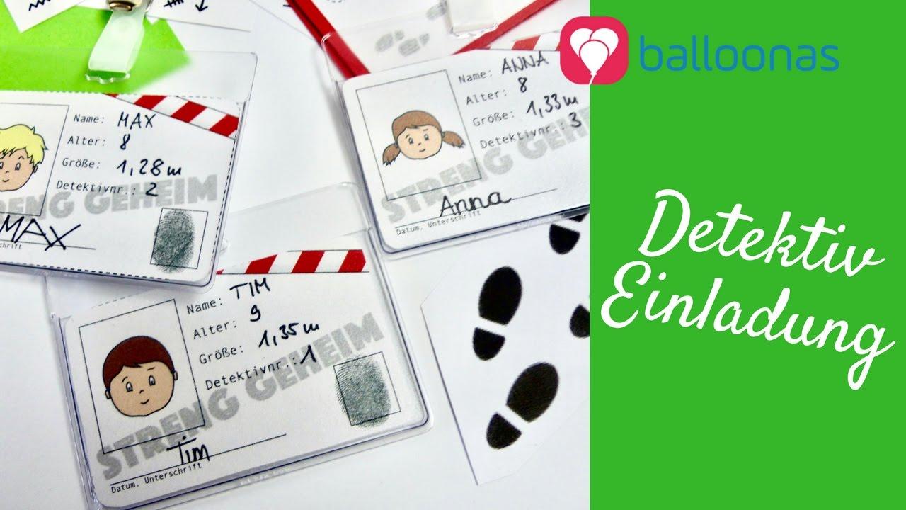 Balloonas Idee / DIY: Streng Geheime Detektiv Einladung Mit Detektivausweis  Und Geheimschrift