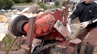 10 Dangerous Homemade Automatic Firewood Processing Machine, Modern wood splitting machine #2