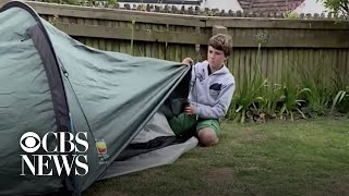 Boy sleeps in tent for 90 days to raise money for hospice care