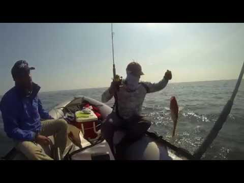 Red snapper fishing. Zodiac inflatable boat, Gulf of Mexico.