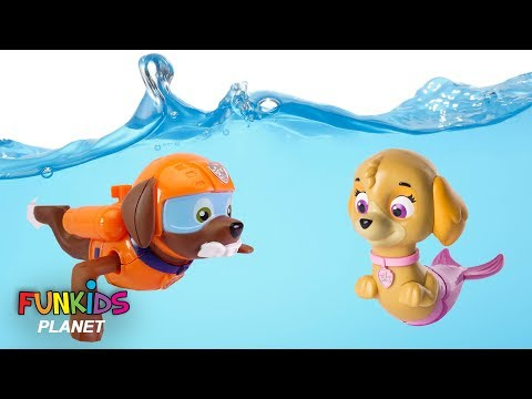 Learning Colors for Children: Paw Patrol Skye & Chase Scuba Dives with Zuma in Swimming pool
