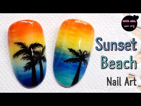 Nail Art -  Sunset Beach  with a Palm Tree