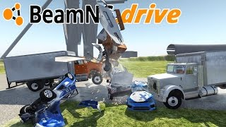 SLOW MOTION MULTI CAR TRUCK + TRAILER CRASH TEST COMPILATION!  - BeamNG.Drive Gameplay Highlights