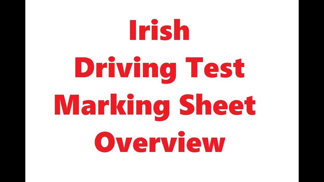 Irish Driving Test Marking Sheet Overview