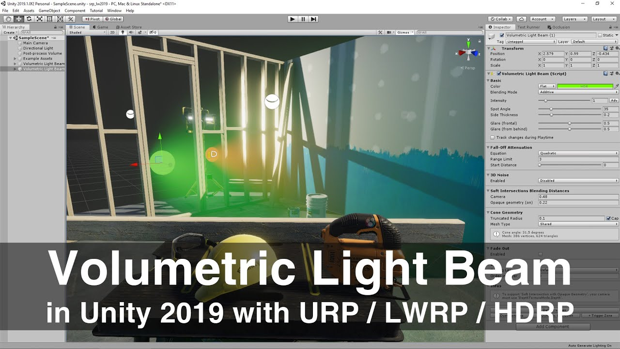 How to use the Volumetric Light Beam Unity plugin with LWRP / HDRP in less  than 3 minutes
