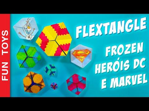 Flextangle paper toy to spin endlessly! Frozen and Heroes Templates Only Here! Kaleidocycle - DIY 🌟: In this video we will teach how to create a kaleidocycle, which is also a flextangle.  And what is this? It's a very interesting paper toy. You can turn it endlessly creating different designs.  In addition to the base to the template to create your own kaleidocycle, we also created two more special flextangles. A superhero with the symbols of Iron Man, Captain America, Batman and Superman and the other with Anna , Elsa , Olaf and Kristoff from the movie Frozen. You can download the templates in this link: http://bit.ly/Flextangle_Free  Flextangle Kaleidocycle is a 3d hexagon, formed by tetrahedrons . It forms a ring which can be rotated infinitely  How about you? What designs will form with your kaleidocycle? Would you like a kaleidocycle with other characters or drawings? We will create a new one from the suggestions with more comments! Comment bellow!  Buy coloring supplies here: http://bit.ly/Coloring_  Other cool vídeos: - DIY Star Wars Bookmarkers: https://www.youtube.com/watch?v=OAsvuJBVMAw&list=PL2edokDcUWHLRrau5wZfxiP5gZjU7EHhA  - Puffy Paint DIY, Liitle Ponny, Kung Fu Panda, Angry Birds: https://www.youtube.com/watch?v=Z8MWyPKdnlM&list=PL2edokDcUWHLRrau5wZfxiP5gZjU7EHhA  - DIY Kylo Ren Mask & Hood from Star Wars: The Force Awakens: https://www.youtube.com/watch?v=YxxeWXcf3Lc&list=PL2edokDcUWHLRrau5wZfxiP5gZjU7EHhA  - Draw with 3d Effect - DIY https://www.youtube.com/watch?v=Lut8_6bJCmg&list=PL2edokDcUWHLRrau5wZfxiP5gZjU7EHhA  - Minions Xmas Window Painting - DIY: https://www.youtube.com/watch?v=CATQWufaz64&list=PL2edokDcUWHLRrau5wZfxiP5gZjU7EHhA  - DIY - Lego Marble Maze: https://www.youtube.com/watch?v=JsdElX_MarY&list=PL2edokDcUWHLRrau5wZfxiP5gZjU7EHhA  - Minios + Minecraft + Lego: https://www.youtube.com/watch?v=ujhl17HUNsQ&list=PL2edokDcUWHLRrau5wZfxiP5gZjU7EHhA  - Adventure Hour + Minecraft + Lego: https://www.youtube.com/watch?v=1IrpUCa2t-s&list=PL2ed