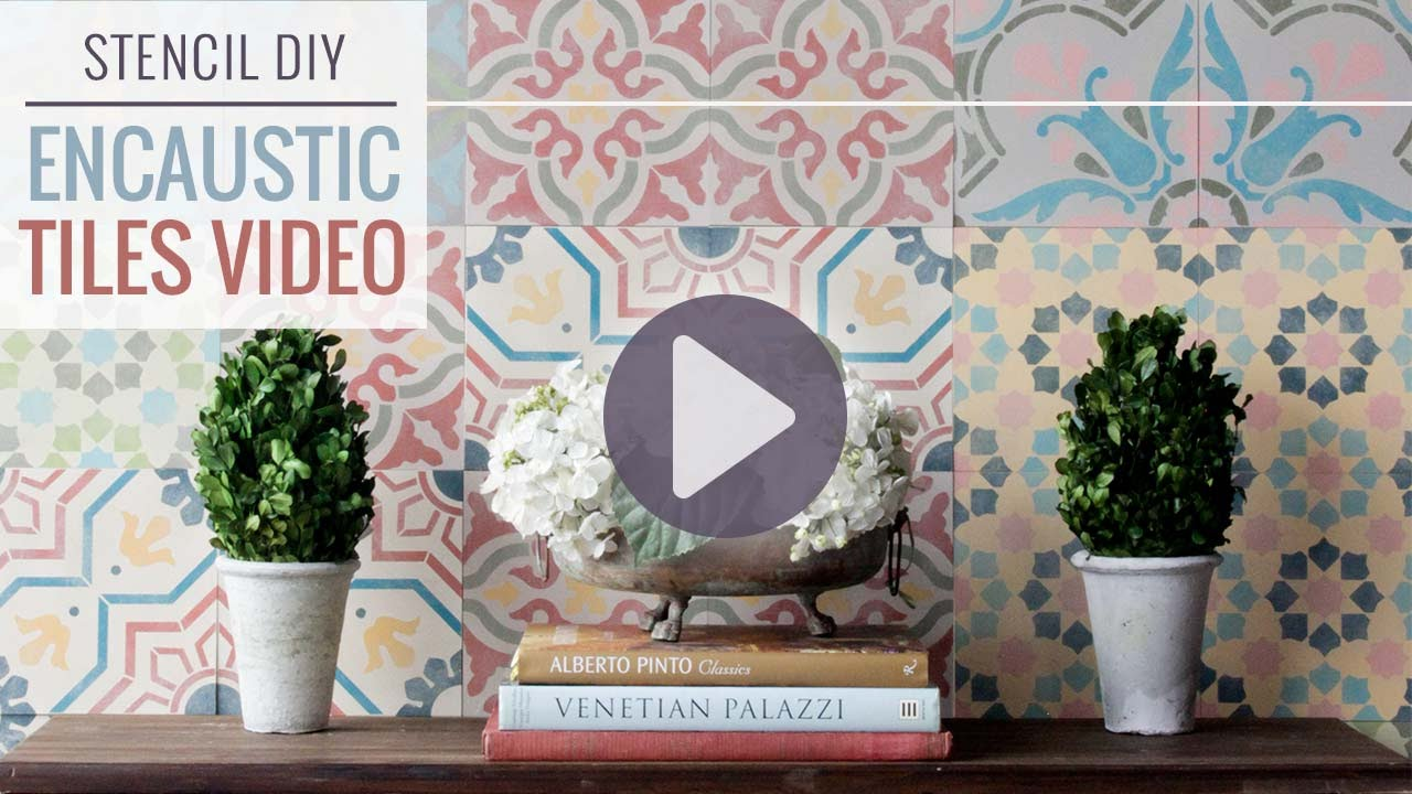 How to stencil wall tiles for a diy encaustic cement tile designs how to stencil wall tiles for a diy encaustic cement tile designs youtube amipublicfo Gallery