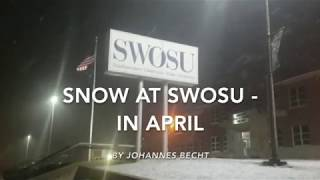 Snowfall on the SWOSU campus Weatherford, April 13, by Johannes Becht   The Southwestern